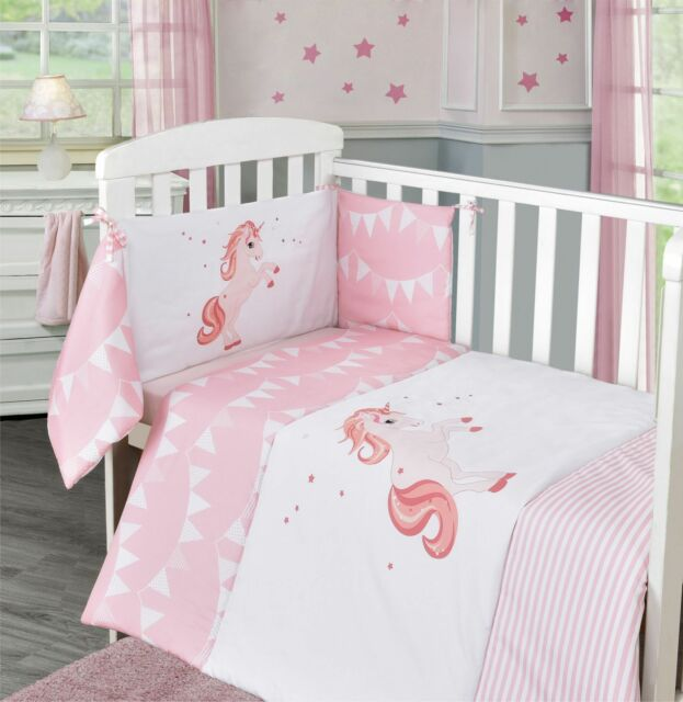 Unicorn Baby Pink Nursery Bedding Bale Stars Quilt Per Sheet Set Cot Bed
