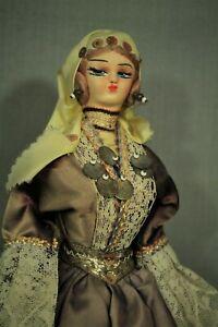 """vintage Gypsy Girl woman doll 11 1/2""""  fancy dress coins Greek folk"""