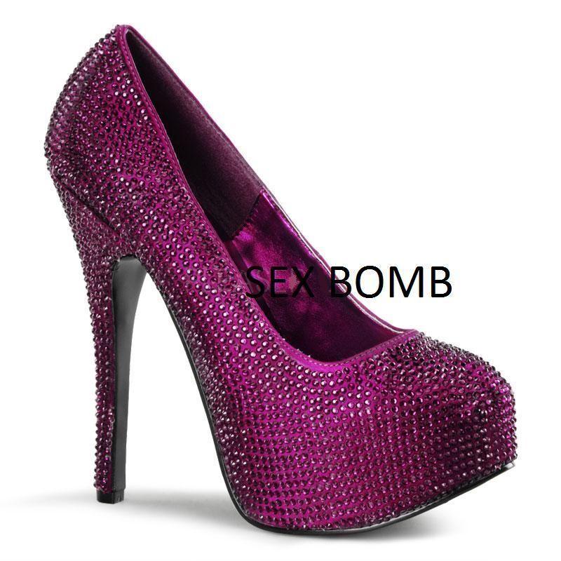 SEXY zapatos de salón púrpuraA STRASS STRASS STRASS plataforma invisible talón 14,5 de 36 a 42  nuevo sádico
