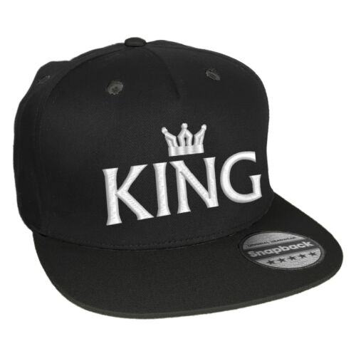 Snapback Ricamato Motivo KING /& QUEEN CON CORONA BIANCA SCRITTA partner-Basecap