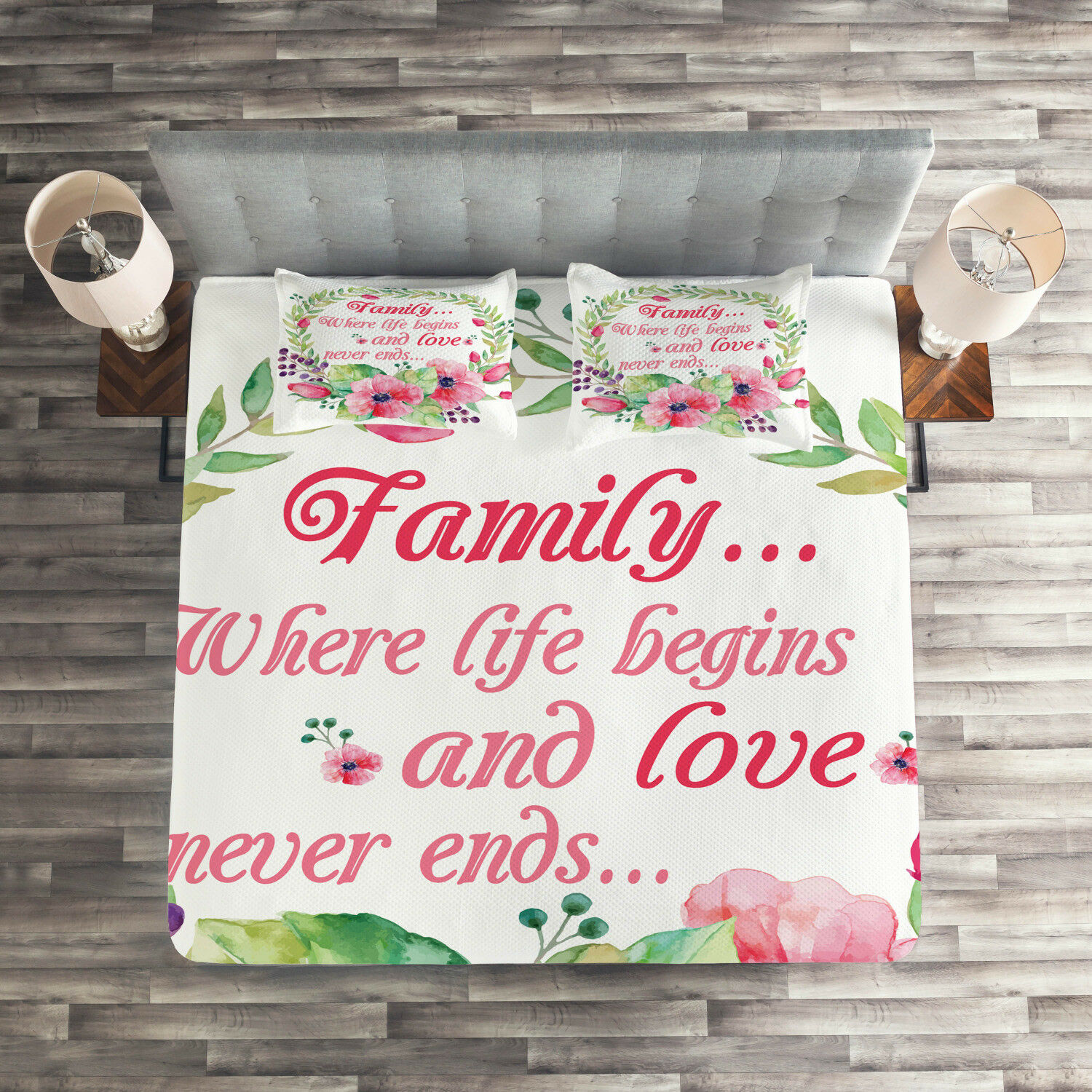 Quote Quilted Coverlet & Pillow Shams Set, Wreath and Flower Design Print