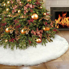 Christmas Tree Skirt Blue 48 inches Large Red Flannel Tree Mat with Gilded Christmas Patterns Skirt for Xmas Tree Holiday Party Decorations Indoor Outdoor with 1 Christmas Stocking