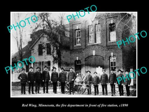OLD 8x6 HISTORIC PHOTO RED WING MINNESOTA, THE FIRE STATION & CREW c1880
