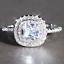Femmes Labo Diamant Taille Princesse Or Blanc Rempli Mariage Fiançailles Halo Ring