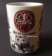 "Japanese 4""H Daruma Maneki Neko Lucky Cat Seven Fuku Sushi Tea Cup Made in Japan"