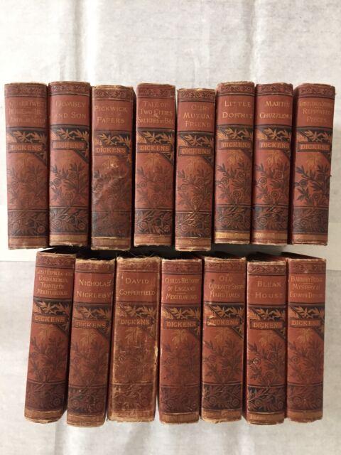 Antique Complete Set Of 15 Vols Dickens' Works Belford Clarke & Company 1880s