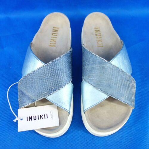 Inuikii Damen Schuhe Fußbett Sandalen Crossed Slipper Leder Blau Np 159 Neu