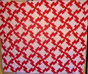 ANTIQUE-RED-AND-WHITE-QUILT-TOP-DRUNKARDS-PATH-DATED-1891