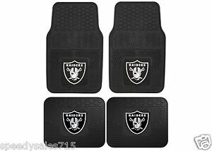 pair nfl oakland raiders front rear heavy duty car mats new free shipping ebay. Black Bedroom Furniture Sets. Home Design Ideas