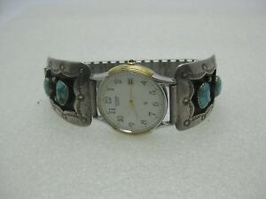 Southwestern-Men-039-s-Turquoise-Watch-Tips-with-Watch-Post-mid-Century