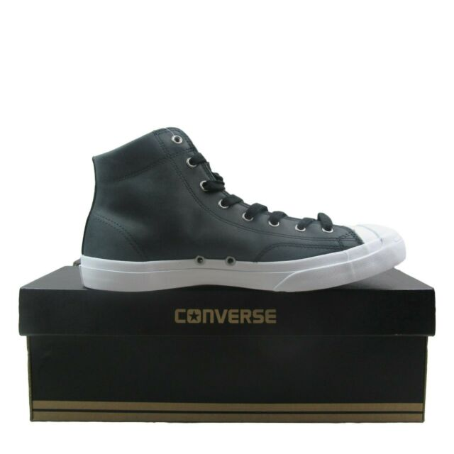 Converse Jack Purcell Mid Boot Leather High Top Black White Men 157707c 11