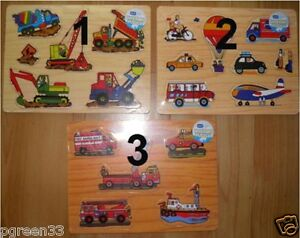 CHILDS-TRADITIONAL-EDUCATIONAL-WOODEN-Vehicle-PUZZLE-Choice-of-3-Designs-NEW