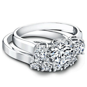 1.60 Ct Round Moissanite Anniversary Band Set Solid 18K White Gold Rings Size 4