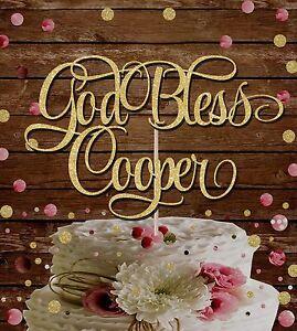 CHRISTENING-GOLD-GLITTER-039-GOD-BLESS-NAME-039-BAPTISM-PARTY-CAKE-TOPPER-DECORATION
