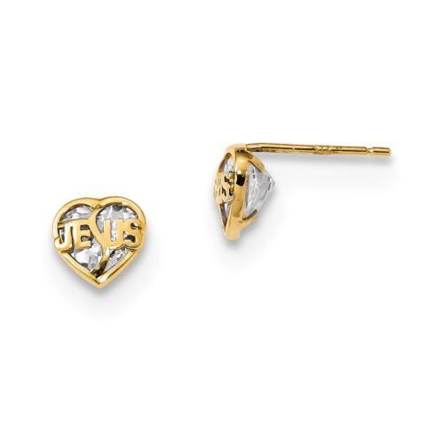 14kt Yellow Gold Madi K Polished Jesus CZ Heart Post Earrings