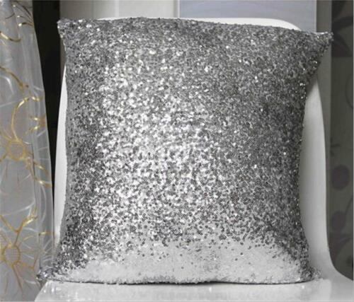 Sequin Glitter Mermaid Pillow Case Reversible Sofa Cushion Cover Ornament CB