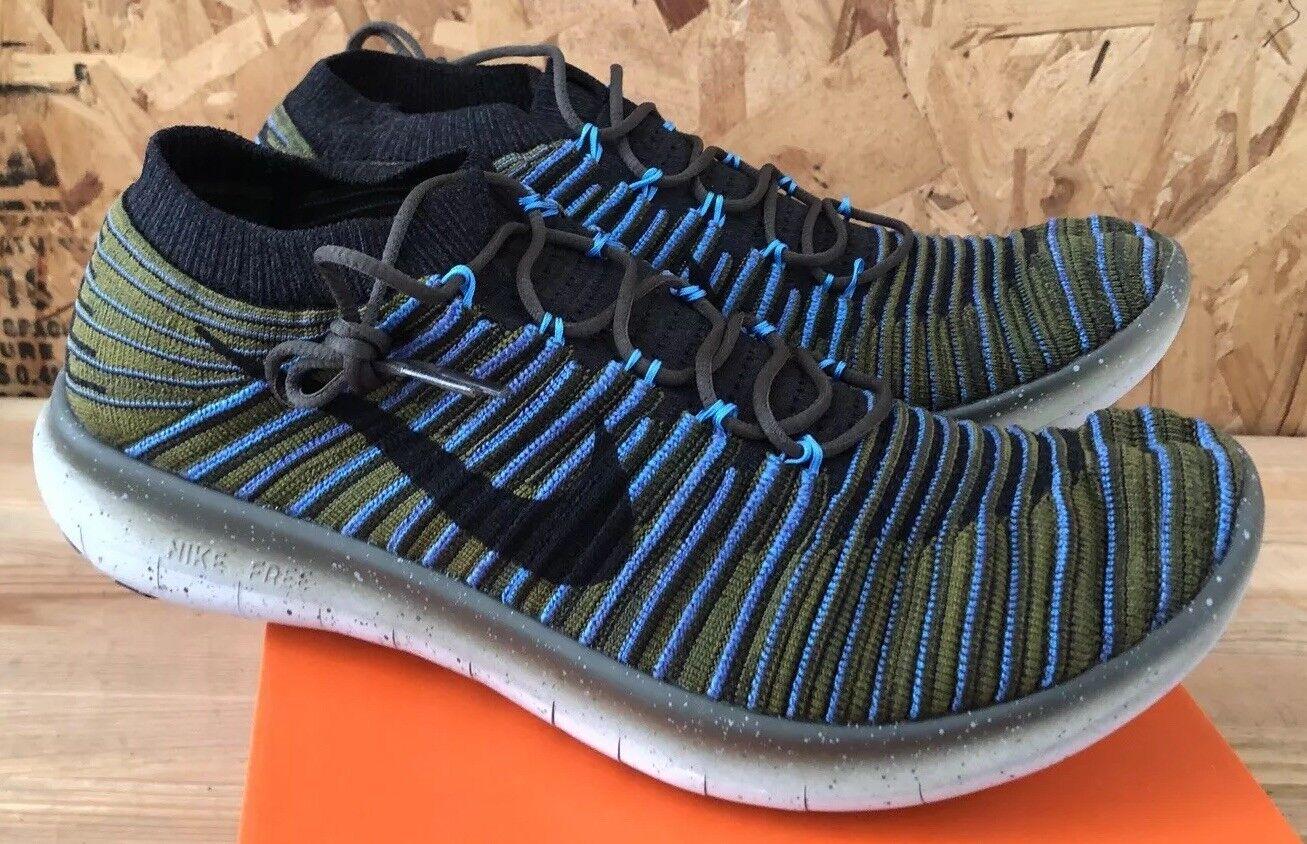 Nike Free Sz RN Motion Flyknit Sequoia Black Blue Green Sz Free 10.5 NIB 834584-300 502771