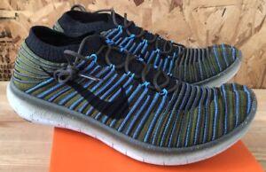 Nike-Free-RN-Motion-Flyknit-Sequoia-Black-Blue-Green-Sz-11-5-NIB-834584-300