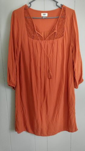 Old Navy Womens Orange Dress Leng Blouse M 3/4 Sle