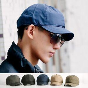 Men Unisex Short Brim Baseball Caps Golf Trucker Hats Solid Vintage ... bc93ef6e988