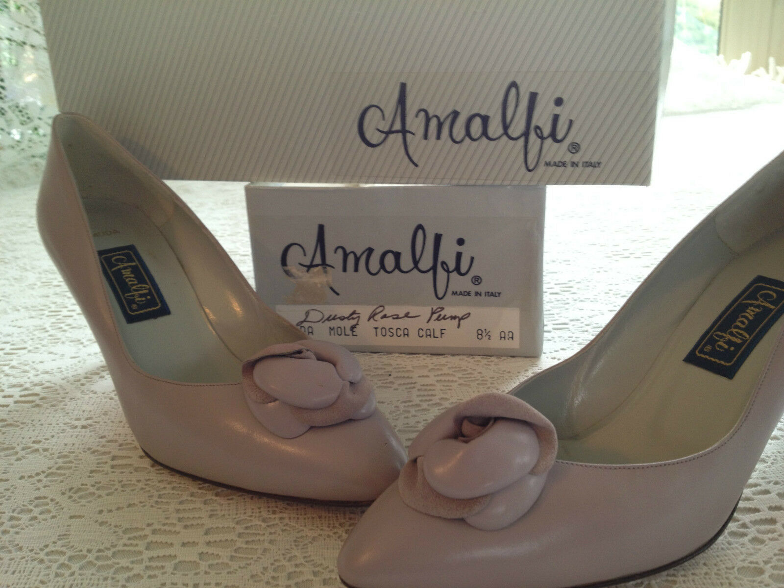 LADYS DUSTY ROSE ROSE ROSE LEATHER PUMP DRESS SHOES NIB AMALFI  MODA TOSCA CALF SIZE 8.5AA 41d004
