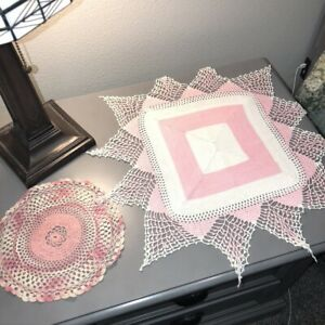 Vintage-Pink-Crocheted-Doilies-Lot-of-2-Hand-Crocheted-8-034-and-19-034-Large-Star-EUC