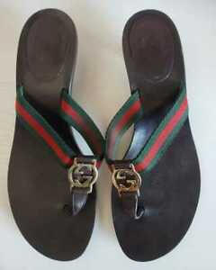 ❤ Gucci GG Stripes Flip Flops EU 38 US 8Thong Sandals Logo Brown Heels Leather