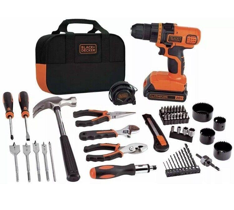 New New Black & Decker 20V MAX Drill & 68 Piece Home Tool Kit LDX120PK FREE SHIPPING.