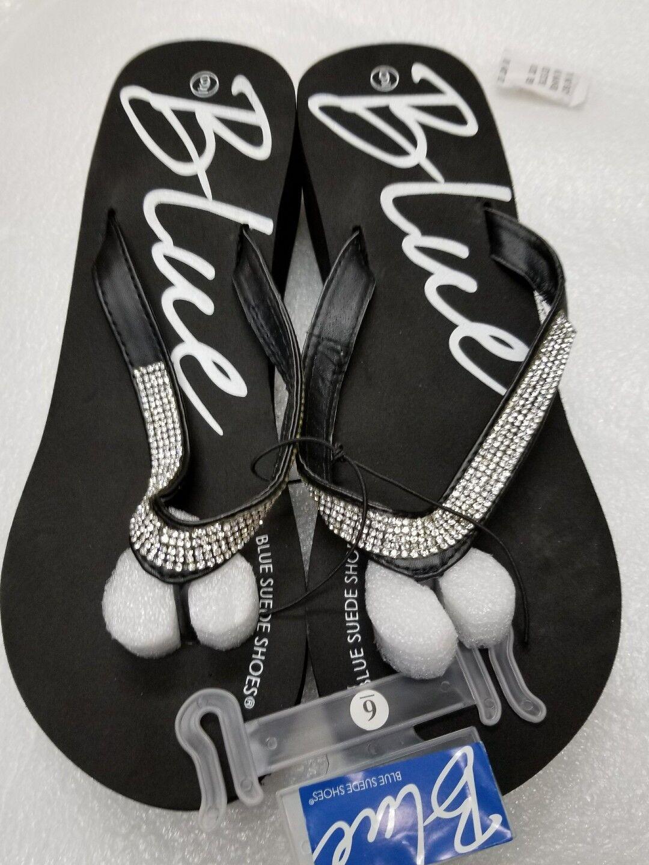 blue flip-flops 9 from blue suede shoes WOMEN'S  size 9 flip-flops black in color b79788