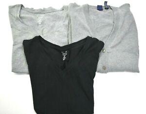 Gap-Women-039-s-Medium-2-Favorite-T-Shirts-amp-1-Cardigan-Black-amp-Gray-Lot-of-3