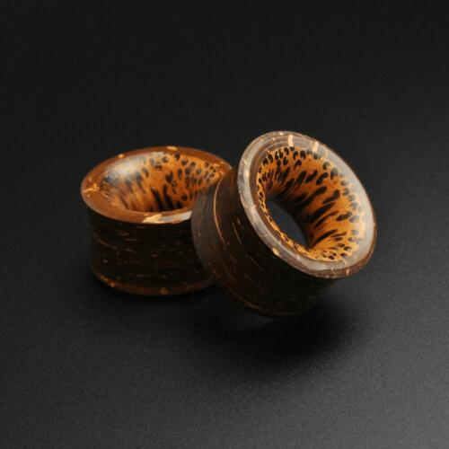 Shell Flesh TunnelsCoconut Shell Double Flare Tunnel With Coconut Wood Inlay