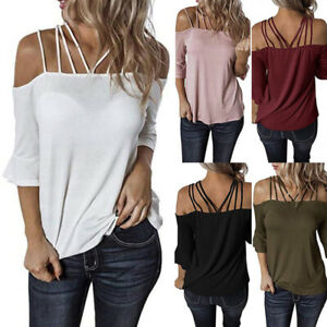 Womens-Off-Shoulder-Tunic-Tops-Plus-Size-Spaghetti-Strap-Beach-T-Shirt-Blouse-US