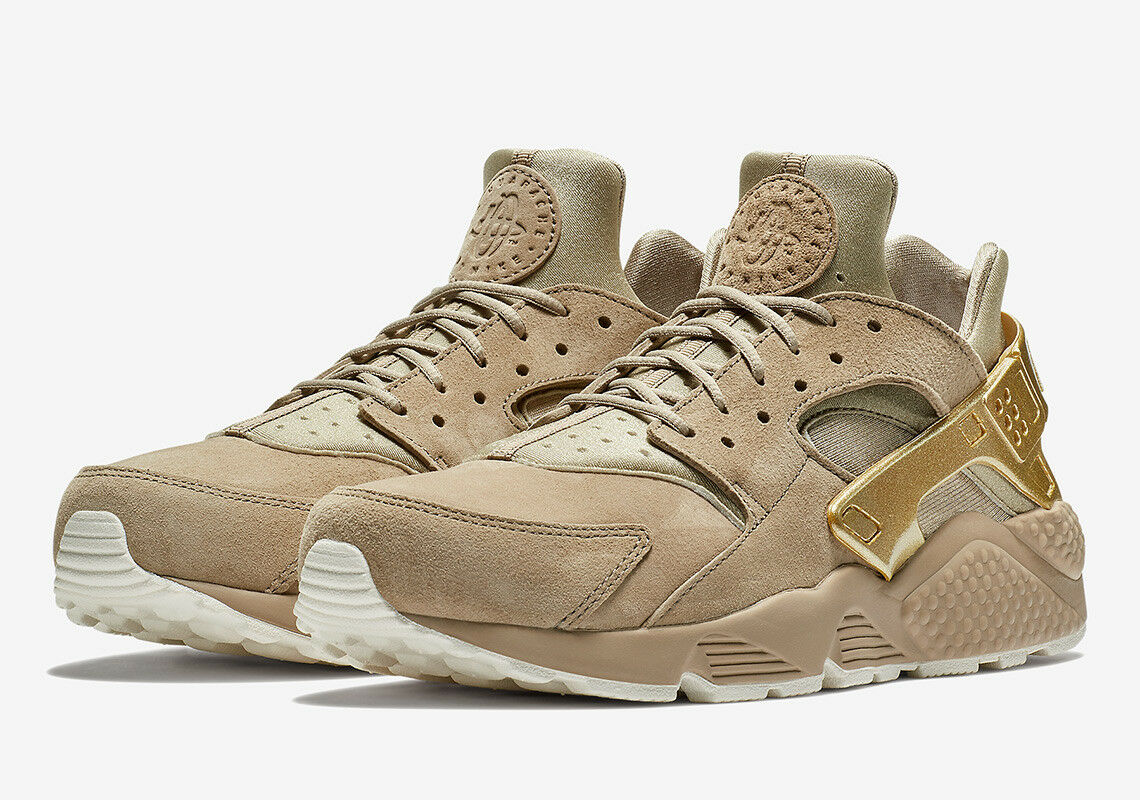 NIKE AIR HUARACHE  gold RUSH  SZ 11.5 KHAKI METALLIC gold COIN SAIL 704830-201