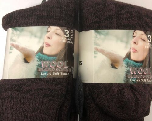 Womens Ladies Socks CHUNKY Wool Blend EXTRA THICK Walking Boot Warm 3 6 12 Pairs
