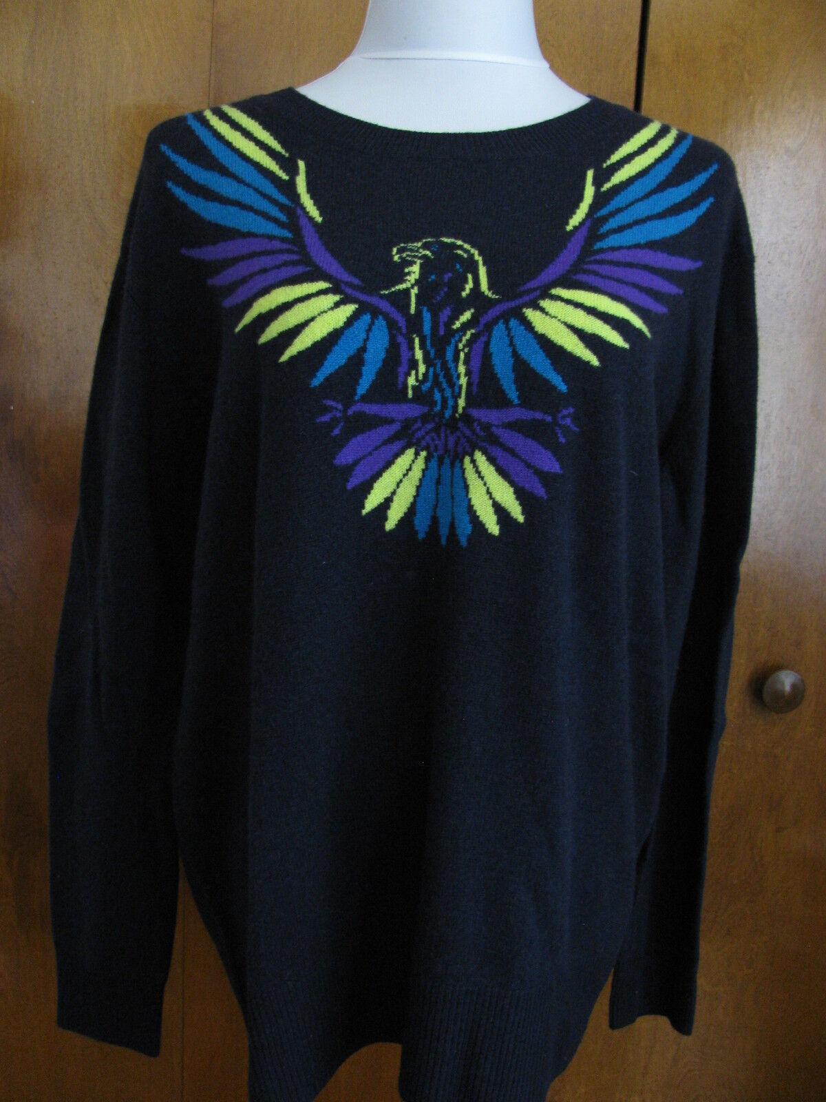 Aqua women's Navy Combo Cashmere Sweater Size S M NWT