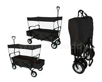 Black Folding Wagon W/ Canopy Garden Utility Travel Cart With Handle