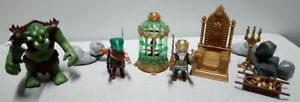 Lot Playmobil Chevalier Et Roi Nains- Troll- Trone- Tresor- Cage