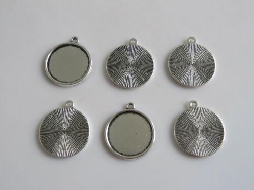 10 Redondo cabujón con colgante camafeo de plata antigua 20mm Marco Bandeja de ajuste espacios en blanco