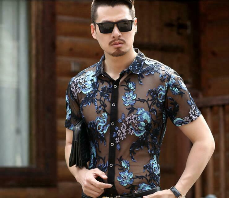 Mens Shirt Short Sleeve Embroidery Floral Summer Mesh Thin Shirts Printed Casual