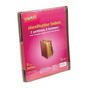 Staples 413781 Red Classification Folders, Letter Size, 5 Folders ~ Free S/H