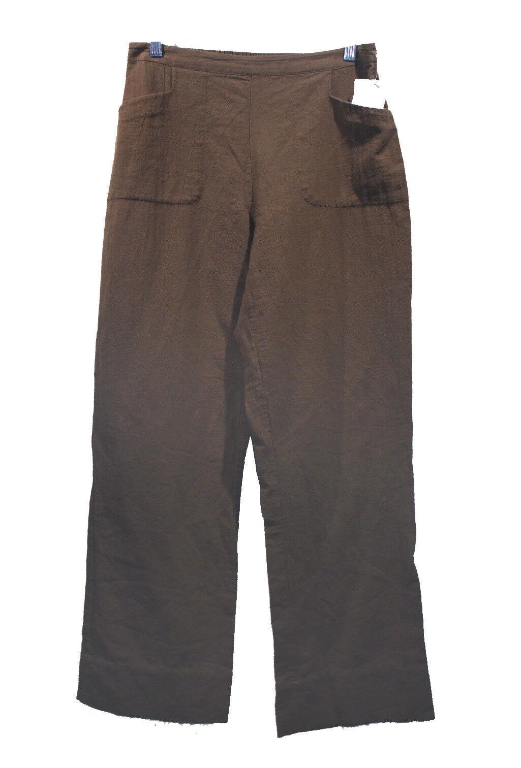 NEW Soft Surroundings Brown Cotton Gauze Pants sz M Elastic Waist