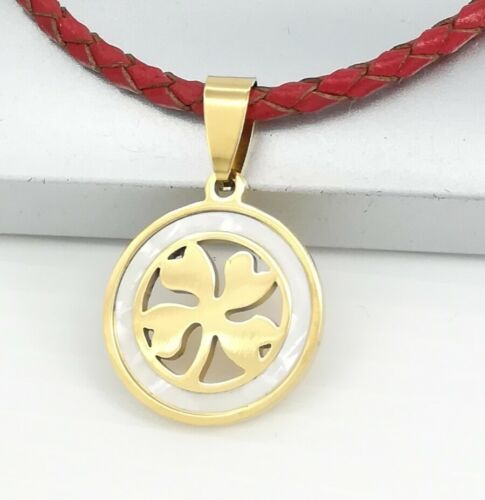 Gold Celtic Four Leaf Clover Shell Pendant Red Braided Leather Choker Necklace