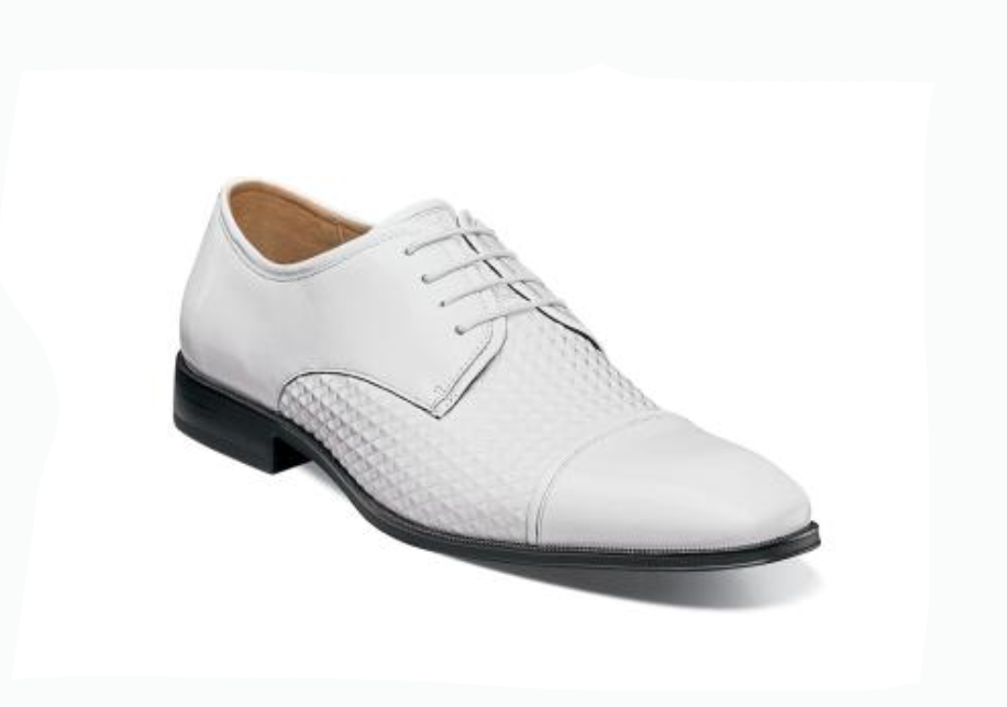 Stacy Adams Men's Forte Cap Toe Oxford White Leather Dress shoes 25180-100