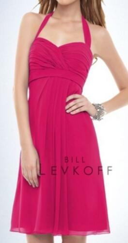 Bill Levkoff Bridesmaid Dress 153 Prom Wedding Short Gown Chiffon Halter NEW