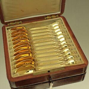 Frankreich-um-1860-12-Teeloeffel-Silber-vergoldet-Vermeil-Kaestchen-Holz-Loeffel