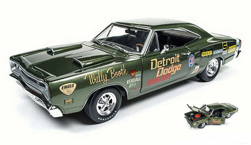 Dodge super bee 1969 (wally Stiefelh) dunkelgrüne 1,18 modell aw234 auto - welt