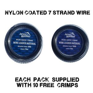 Jarvis-Walker-nylon-coated-trace-Wire-60lb-100lb-Sea-Pike-Fishing-10-free-crimps