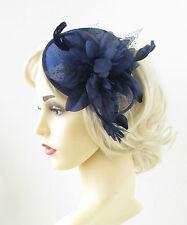 Navy Blue Feather Fascinator Headband Headpiece Races Flower Vintage Hair 951