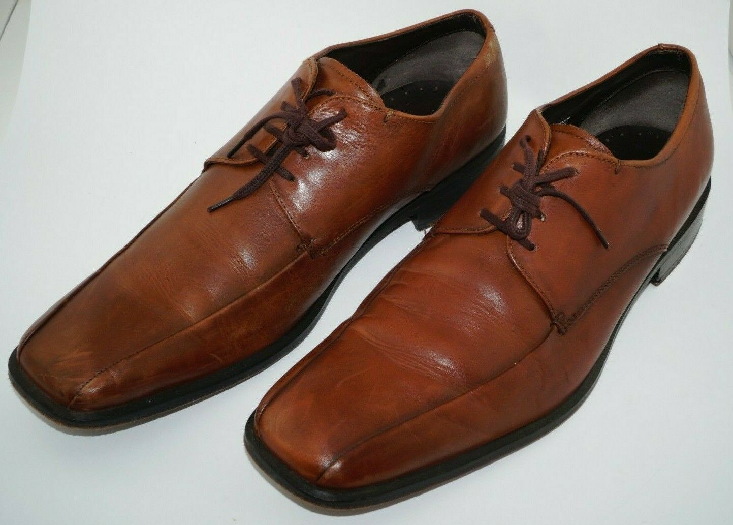 Kenneth Cole New York Men's Oxford Style Dress Brown Leather Shoes Size 11 M