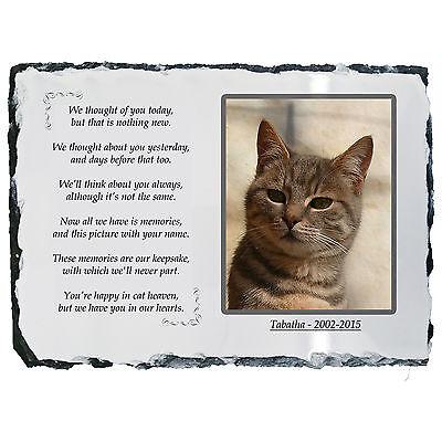 Pet Cat Photo Memorial Slate Plaque -Beautiful Poem -Personalised -YOUR Picture!